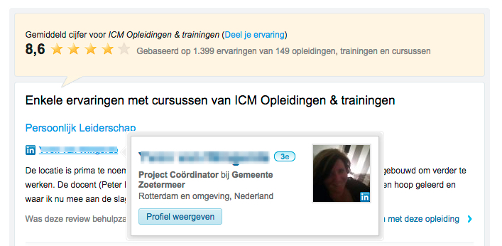 Linkedin validatie bij Springest review